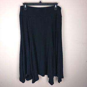 Ann Taylor Loft Black Swing Midi Skirt